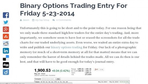 Options trading journal