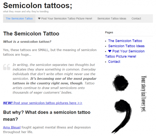 Semicolon tattoo launches website to chart the rise of the for Semicolon tattoo price