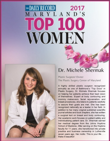 Baltimore Plastic Surgeon Body Contouring Maryland Top 100 Women Award Announced