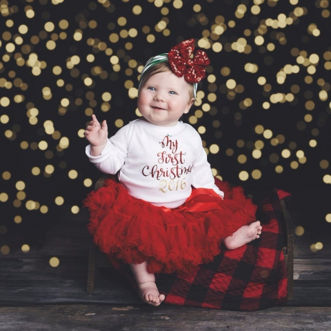 1864bce285 Cute Newborn Baby Girl Christmas Bodysuit Shirt & Red Pettiskirt Outfit  Released