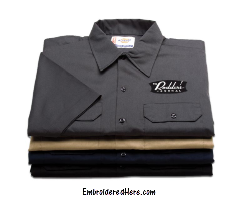 Dickies custom embroidered workwear shirts vests for Embroidered dickies work shirts