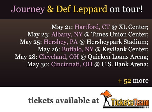 Journey def leppard tour tickets 2018 available for sale at ti trusted ticket marketplace ticketsteam offers journey def leppard fans to pay 5 less on all ticket purchases by using coupon code def2018 fandeluxe Images