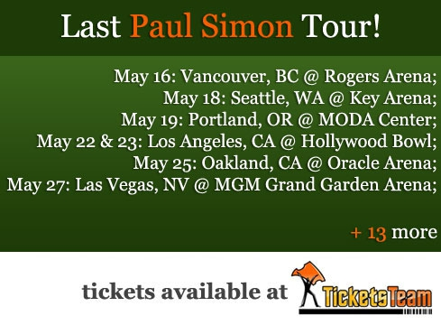 Paul Simon Farewell Tour Tickets 2018 Available For Sale At ...